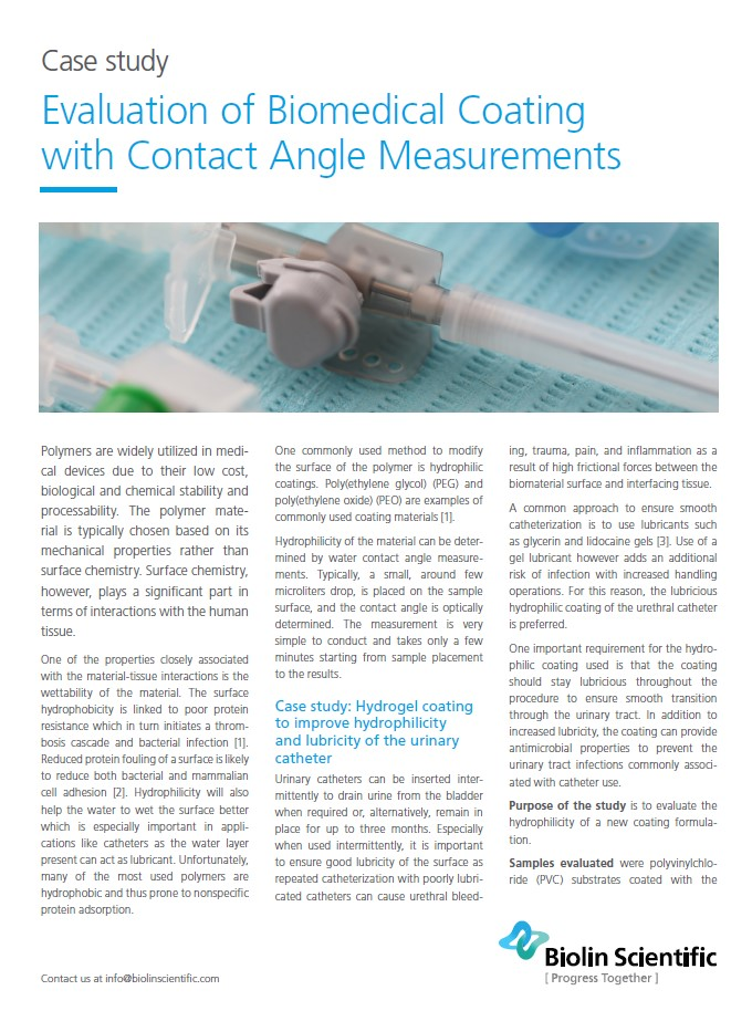 contact angle on biomaterials