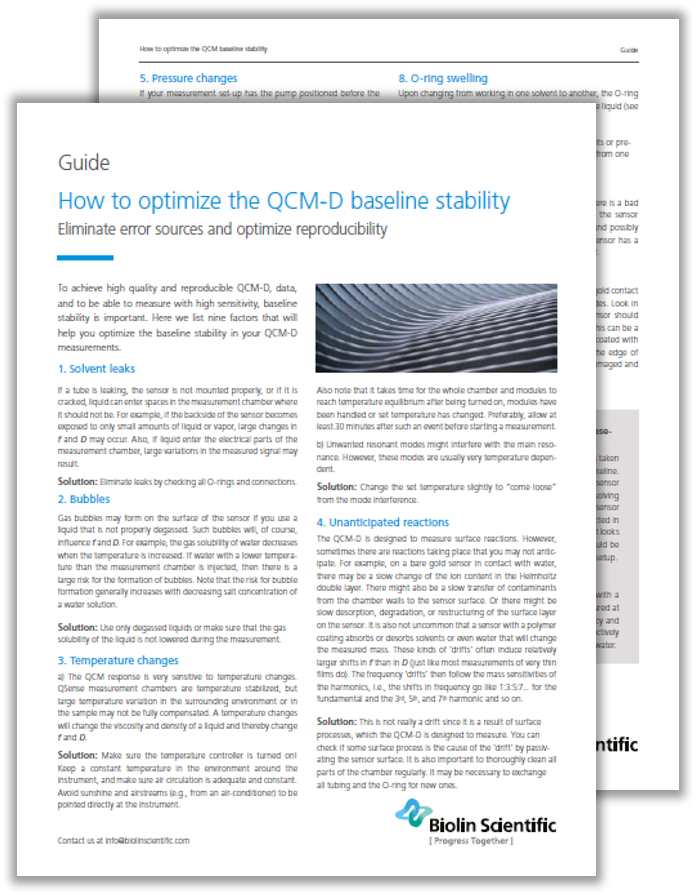 How to optimize the QCM-D baseline stability